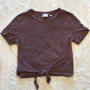WILFRED crop tie front burgundy brown tee shirt XS
